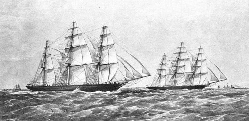 Taeping (left) and Ariel race neck-and-neck up the English Channel, three months out of China.