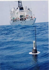 An Argo float in the ocean (courtesy UCSD)