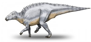 "A restoration of Telmatosaurus, one of the ""dwarf dinosaurs."" From Wikipedia."