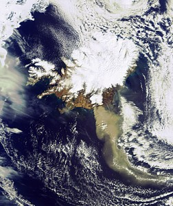 A heavy plume of ash drifts southeast from Iceland's Eyjafjallajökull volcano on April 19 (credit: ESA)