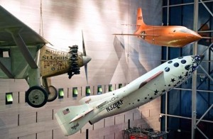 The X Prize winning SpaceShipOne now hangs in NASM's Milestone's of Flight Gallery. Photo courtesy by Eric Long, National Air and Space Museum.
