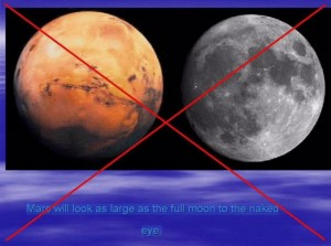 A false statement on some spam emails claims that Mars will appear as large as the moon on a day late in August. Image courtesy of AirSpace.