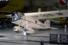 Wiley Post's Winnie Mae on display at the Udvar Hazy Center. Courtesy NASM, SI