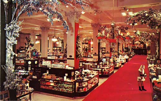 A lone Santa awaits customers in the Christmas Aisle at the Woodward & Lothrop in Washington, D.C. in 1965. Image courtesy of the museum.