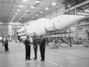 Wernher von Braun, President Kennedy and Vice-President Johnson at NASA -- feigning interest?
