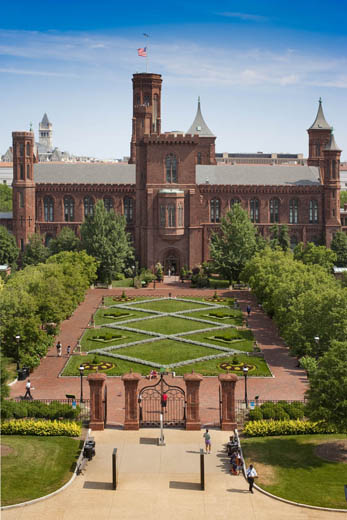 The parterre in the Enid Haupt Garden behind the Smithsonian Castle. Photograph by Eric Long
