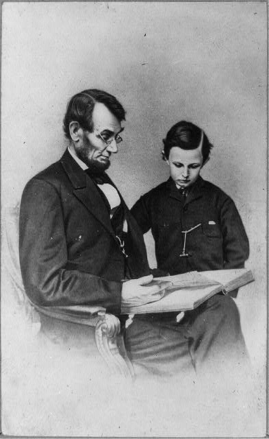 An illustration of Abraham Lincoln and his son Tad. Image courtesy of the Library of Congress.