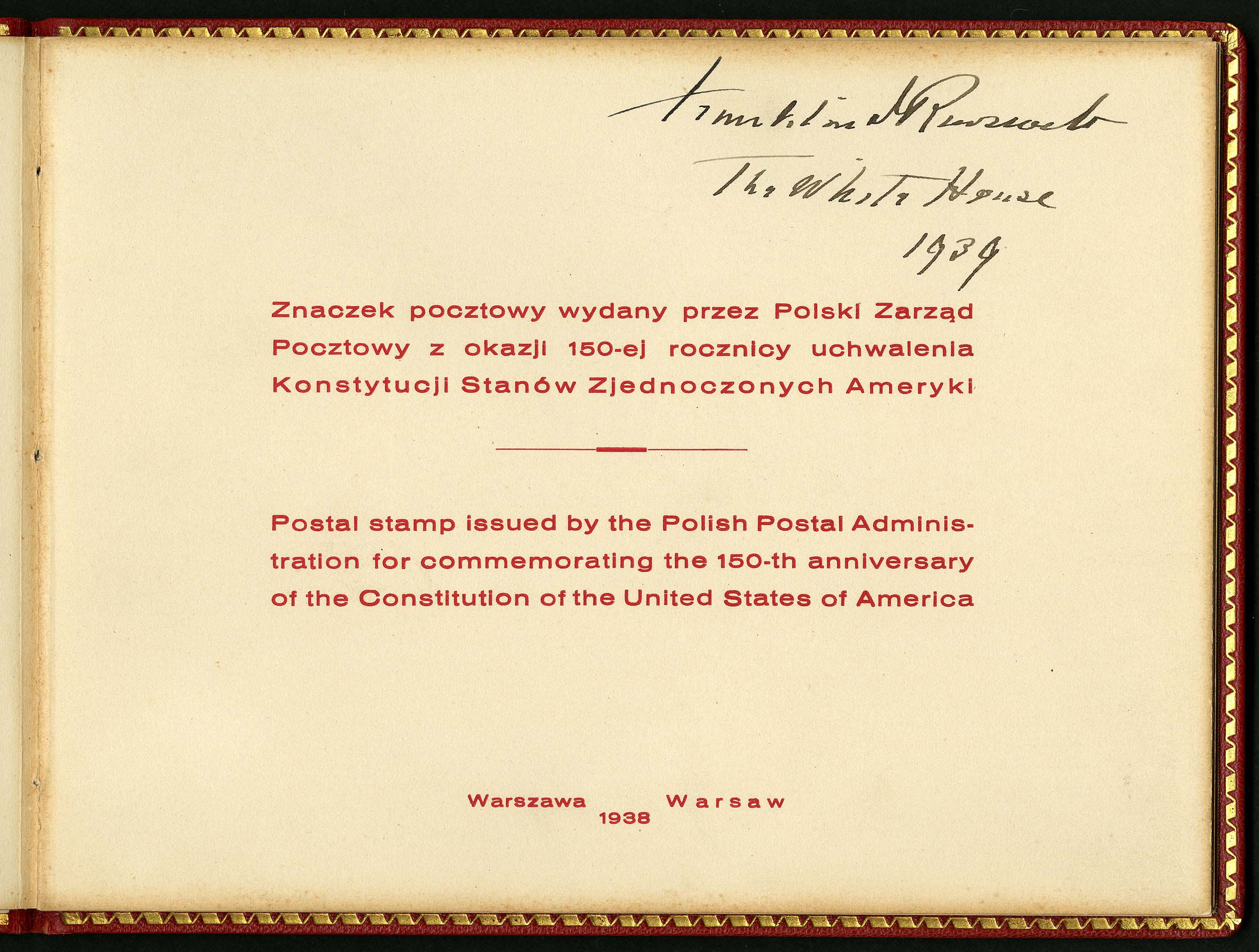 FDR's signature on a 1938 presentation album from Poland. (Courtesy of the National Postage Museum.)