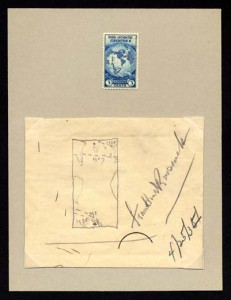 FDR sketched the design for the 1933 Byrd Expedition stamp, photo courtesy of the National Postal Museum.