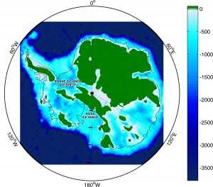 Antarctic land that sits above sea level, in green. (Oregon State University)
