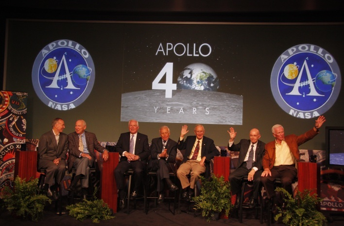 Apollo astronauts, from left: Walter Cunningham, Jim Lovell, Dave Scott, Buzz Aldrin, Charlie Duke, Tom Stafford, and Gene Cernan.
