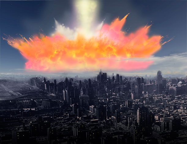 Artist Ron Miller illustrates what it might look like if an asteroid the size of the one that struck the Yucatan peninsula 65 million years ago, which left a 93-mile-wide crater and most likely triggered the extinction of the dinosaurs, hit New Jersey.