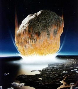 An artist's rendering of the asteroid impact that took place 65 million years ago and likely killed off nearly every large vertebrate species on the planet, including, many think, the dinosaurs. Don Davis/NASA
