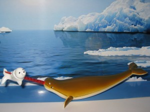 The avenging Narwhal has speared a snow seal on its magical ruby tusk.