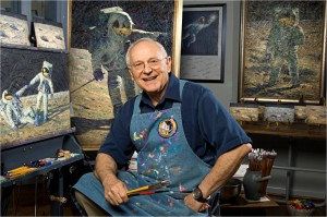 Alan Bean at his studio. Photo by Carolyn Russo, National Air and Space Museum. Image courtesy of the Smithsonian Institution.