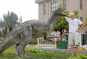 A Corythosaurus in Beijing. From reader Paul Trap.
