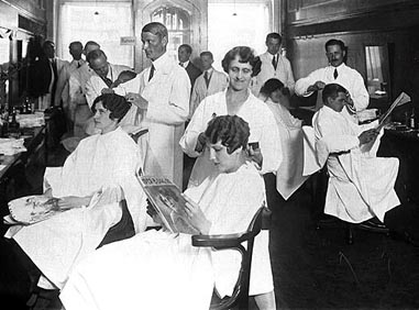 Barber And Beauty Shop : Getting a bob in a barbershop, 1920s.