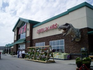 A Tyrannosaurus greets visitors at an IGA supermarket. From reader Cameron.