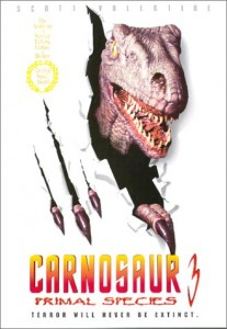 The cover art for Carnosaur 3, one of the worst dinosaur movies ever made.