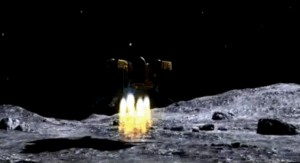 The Chang'E 3 spacecraft sets down on the Moon.  Exhaust gas from rocket changes the lunar exosphere.