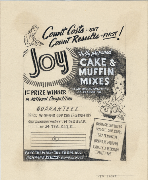 The original advertising mock-up for Sachs' baking mix line, Joy Cake and Muffin Mixes.