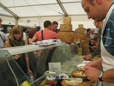 Sampling at the Great British Cheese Festival. Photo by Sarah Zielinski.