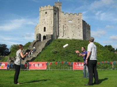 "The ""cheese tossing"" contest outside Cardiff Castle. Photo by Sarah Zielinski."