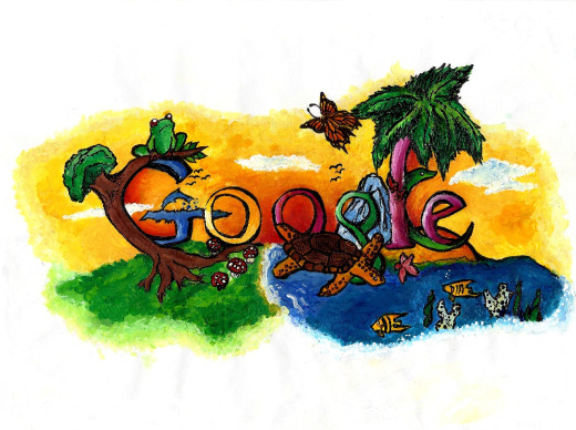 "The winning design of last year's ""Doodle 4 Google"" contest, by middle-schooler Christin Engelberth. Photo courtesy of Google."