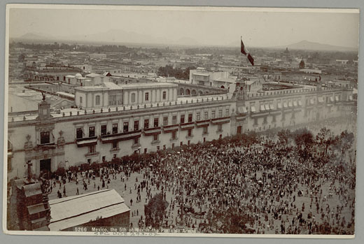 In this undated, Smithsonian archives photo, a crowd gathers in the Plaza de Armas on Anniversary of Battle of Puebla, a celebration now known as Cinco de Mayo. Photo courtesy of National Anthropological Archives, Smithsonian Institution INV 00829302.