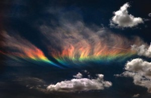 An ice rainbow seen in cirrus clouds on Earth.  Image courtesy of Todd Sackmann