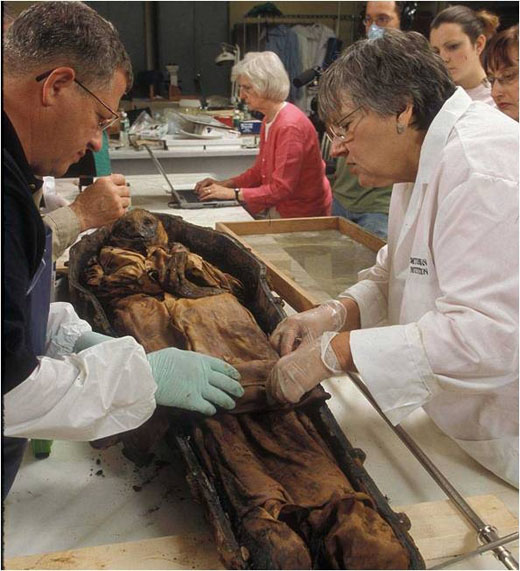 Researchers clean and measure the remains of William Taylor White after he was unearthed in 2005. White's family recently donated the boy's remains to the National Museum of Natural History.