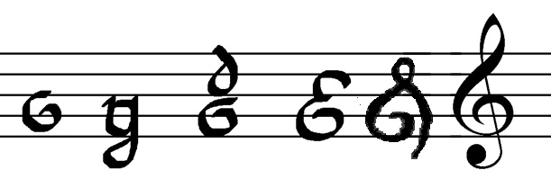 treble clef evolution