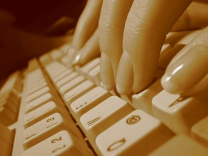 Who's been using this keyboard? The microbes might tell. (image courtesy flickr user lapideo)