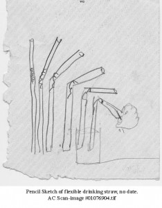 Pencil sketch of flexible drinking straw, no date.