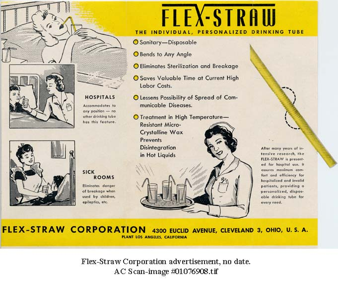 The ease of positioning the Flex-Straw made it appealing for hospital use. Joseph B. Friedman Papers, NMAH Archives Center