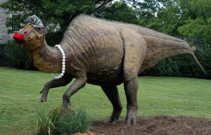 A hadrosaur that was dressed up for the annual Swan Ball. From reader Susan Adcock.