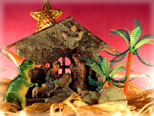 I don't remember a dinosaur in the nativity... From Flickr user tinkernoonoo