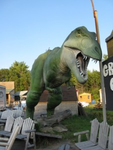A Tyrannosaurus looms over the furniture at an Ontario, Canada store. Submitted by Karin and Tegan.