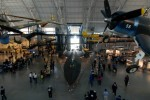 The James S. McDonnell Space Hangar sits open and temporarily empty behind the SR-71 Blackbird at the Udvar-Hazy Center.