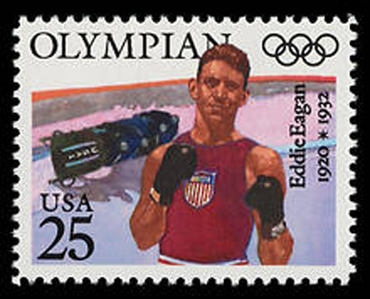 In 1990, the U.S. Postal Service honored Eddie Eagan with a stamp. Eagan is the only American to win a gold in both the Summer and Winter Olympic Games.