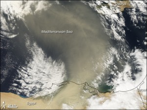 Dust blows over the Mediterranean from Africa