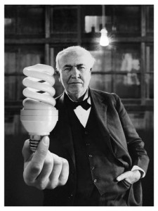Thomas Edison...with a fluorescent bulb? Photo Illustration: William Duke; Component Images: (Edison) Bettmann / Corbis; (Bulb) Thom Lang / Corbis