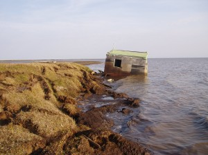 when a bluff erodes away, an Alaskan cabin ends up in the water (courtesy of Benjamin Jones, USGS)
