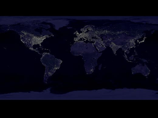 A composite image of the Earth at night (credit: NASA/Goddard Space Flight Center, Scientific Visualization Studio)