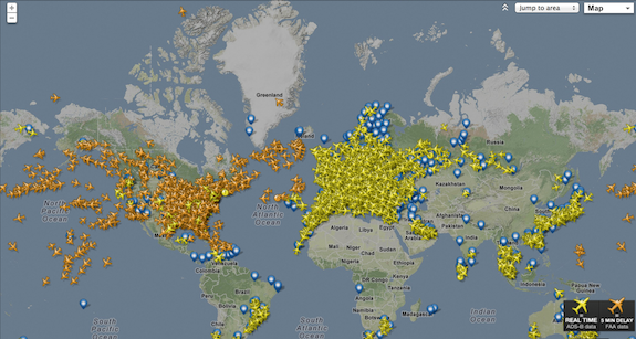 A Map of Every Passenger Plane in the Skies at This Instant