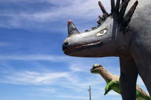 Dinosaur sculptures outside the Crystal Forest Museum Gift Shop. Photo by Erik Washam.
