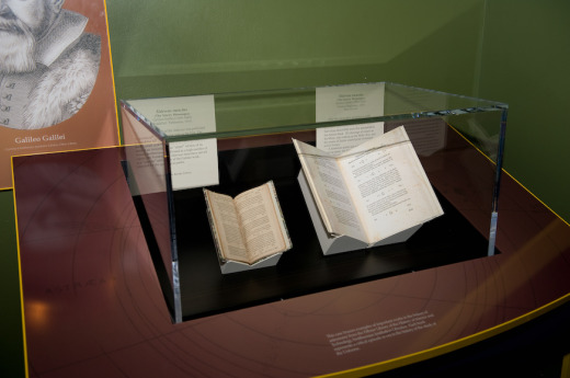 "On the left is an authentic copy of Galileo's ""Sidereus Nuncius"" from 1610 on loan to the National Museum of Air and Space. Photo by Mark Avino."