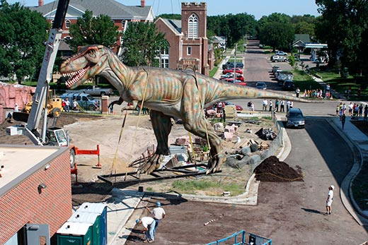 The 60-foot-long Tyrannosaurus stands outside the Children's Museum of South Dakota. Photo courtesy AP Photo/The Brookings Register, Nick Hartley