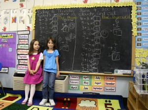 Will these girls learn to fear math from their teacher? (courtesy of flickr user woodleywonderworks)