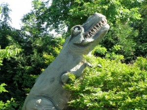 A dinosaur sculpture decorating a now-defunct miniature golf course. Photo by Chip Ohlhaver.
